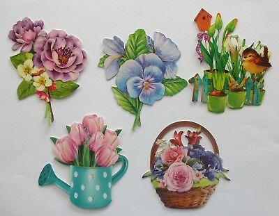3D Easy Die Cut Card Toppers FLOWERS 5 Designs Glltter Hotfoil Finish Type 8