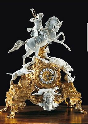 Porcelain Capodimonte. clock hunting to boar