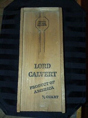 Vintage Lord Calvert Whiskey Box with Sliding Lid. Old Finger Joint Box