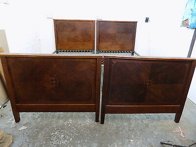 pair,antique,edwardian,mahogany,single beds,inlaid,bed frame,bed,single,sprung