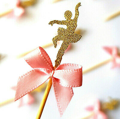 Pink Ballerina Cupcake Toppers with Ribbon 12 PACK (birthday, party, decoration)