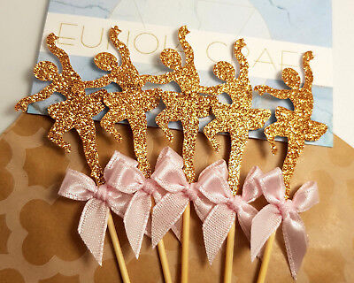 12x Bronze Glitter Ballerina Cupcake Toppers w Pink Ribbon (party decorations)