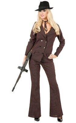 Adult Womens Gangster Moll 1920s Black Red Pinstripe Suit Fancy