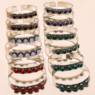 GREAT SALE 12 Pcs LOT !! 925 STERLING SILVER OVERLAY MULTI-STONE BANGLE /CUFF