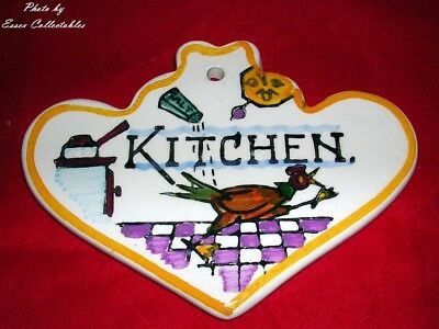 Vintage 1970's Toni Raymond Pottery Door Plaque Sign 'KITCHEN' FREE P+P