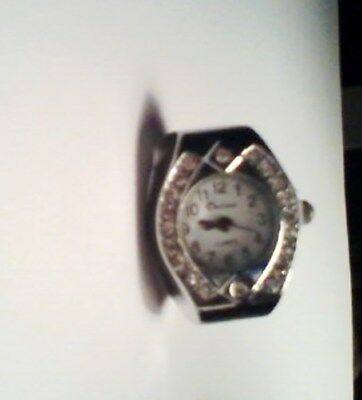 Novelty Watch Ring With Crystal Border