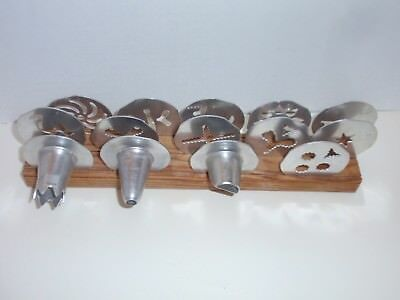 Vintage Mirro Cookie Cooky Pastry Press 11 Plates 3 Tips w/ wooden stand ONLY