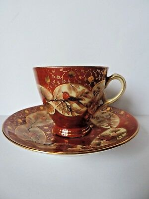 Rrr Rare Antique Hand Painted, Gilt, Porcelain Cup And Saucer