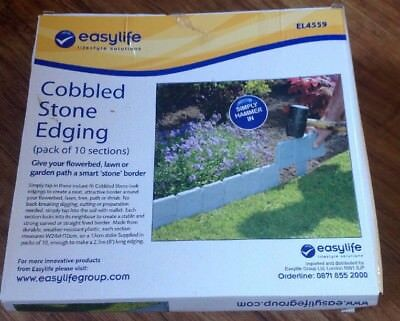 Easy life Cobbled Stone Edging  - Pack Of 10 - Up To 8' Long - New In Box