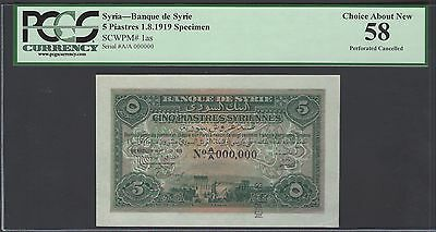 Syria 5 Piastres 1-8-1919 P1as Specimen About Uncirculated