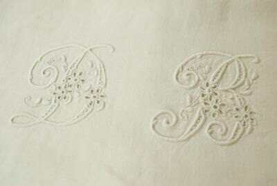 Divine Antique French Linen Trousseau Sheet, D & B Embroidered Monogram, 19thC