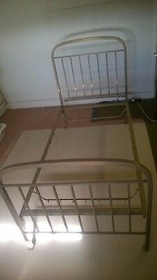 ANTIQUE SINGLE BED + BRASS ENDS + STEEL MIDDLE / BASE for 196cm x 99cm Mattress