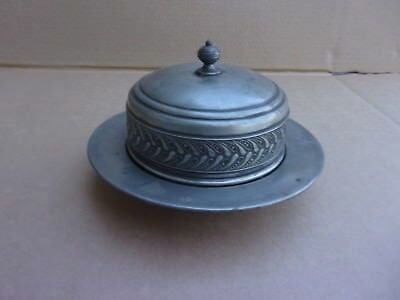 Antique Pewter 4 Piece Butter Dish