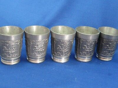Lot of 5 Antique German Embossed Heavy Solid  Pewter Shooters Engraved Beautiful