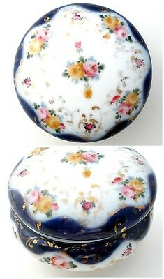Vintage Powder Box Hand Painted Roses Vanity Dresser Jar Porcelain Blue Pink