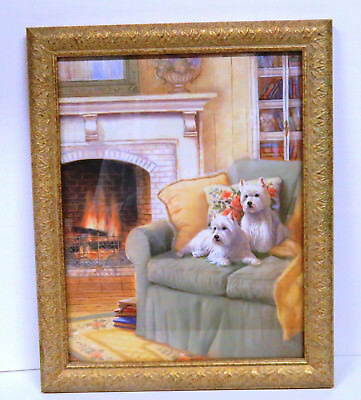 West Highland Terrier Colorful Print by Judy Gibson w/Glass and Gold Frame