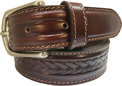 100% Real Italian Leather Belt Cognac Tan  Braided Design S M L Xl Xxl 35Mm
