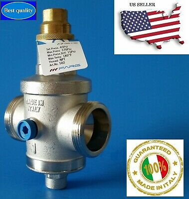 "Water Pressure Reducing Regulator Valve 1"" NPT Double Union (Made in Italy)"