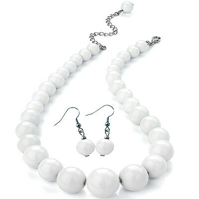 White colour graduated bead choker necklace and earring set costume jewellery