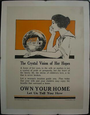 c. 1927 The Crystal Vision of Her Hopes Own Your Home Holmes Real Estate Poster