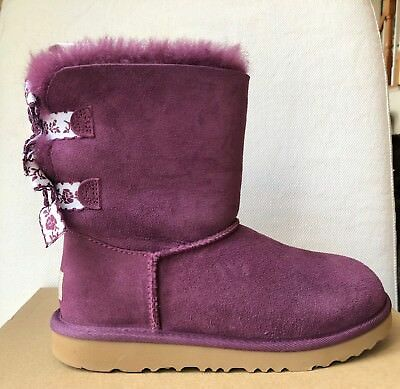 6da97003d1c GIRLS UGG AUSTRALIA-BAILEY BOW PURPLE EMBROIDERED SIZE 4 NIB