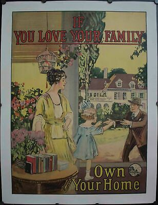 c. 1927 If You Love Your Family Own Your Home Real Estate Henry Holmes Poster