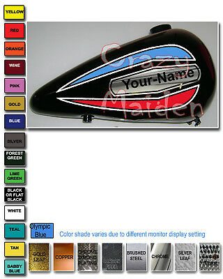 Harley style Motorcycle gas tank decal graphics Vintage retro