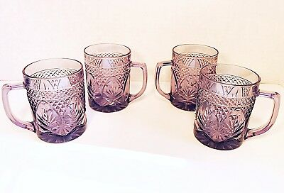 Cris D'Arques Luminarc Antique Amethyst Purple glass mugs *Excellent Condition