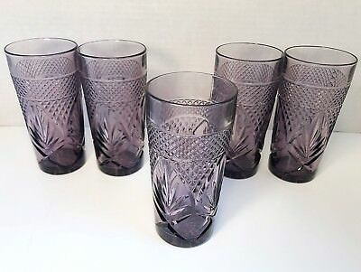"Set Of 5 Luminarc Cristal D'arques Amethyst Antique Tumblers  6"" Excellent"