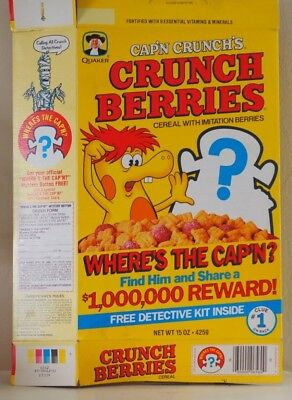 1985 Captain Crunch crunch berries vintage cereal box, Where's Cap'n 80's box