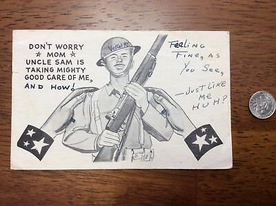 1943 WWII Army Soldier Censored Cartoon Named PFC Post Card Uncle Sam