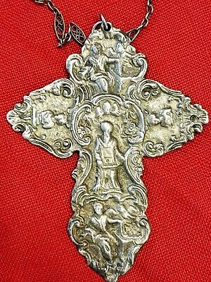 ANTIQUE LARGE 1700s EMBOSSED STERLING SILVER ORTHODOX BYZANTINE CROSS CRUCIFIX