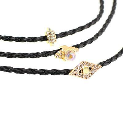 3pcs Braided Leather Choker Necklace Short Black PU Handmade Necklaces