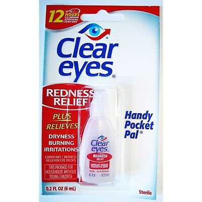 12 Pack Of Clear Eyes  Drops Redness Relief 0.2 Oz.6 Ml Exp (2020)Up To 12 Hours