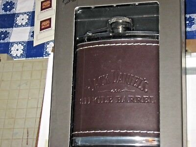 5541 Stainless Leather JD Flask Jack Daniels Single Barrel Tennessee Whiskey # 7