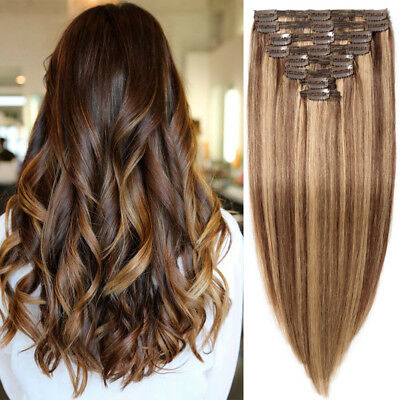 Super THICK 160g++ Clip In Full Head 100% Real Human Hair Extensions Double Weft
