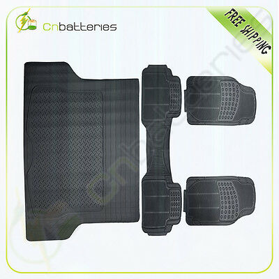 4pc Set All Weather Rubber Black For Volkswagen Ford BMW Floor Mats + Cargo Line