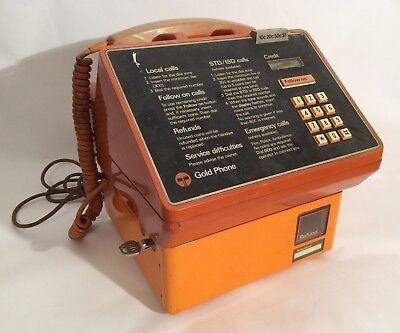 Vintage 1986 CT4 Telecom Gold Pay Phone-Coin Operated