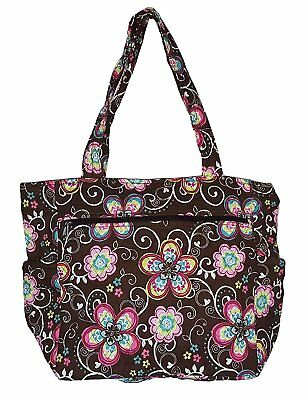 f50860009d60 BOHEMIAN PRINTS Quilted Large 22 inch Duffle Bag Flowers- Brown ...