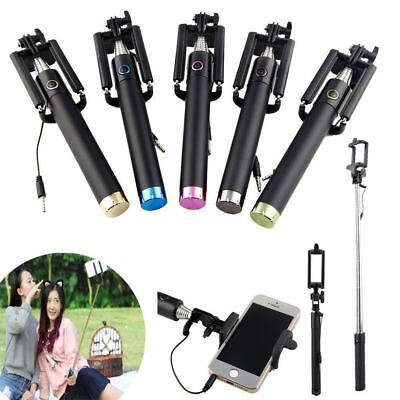 New Smartphone Extendable Wired Selfie Stick Monopod Phone Holder Remote Shutter