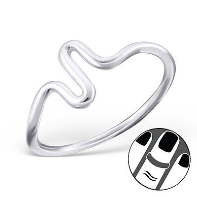 TJS 925 Sterling Silver Midi Ring Wave Design US Size 3.5 Fine Jewellery Wavy