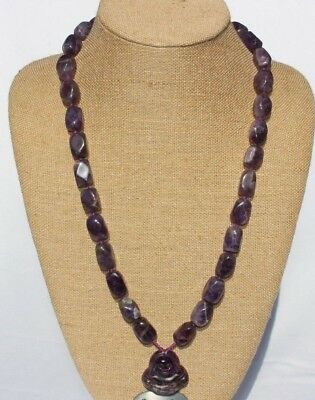 Chinese Massive Chunky Carved Amethyst BUDDHA Necklace Pendant Men's Women's