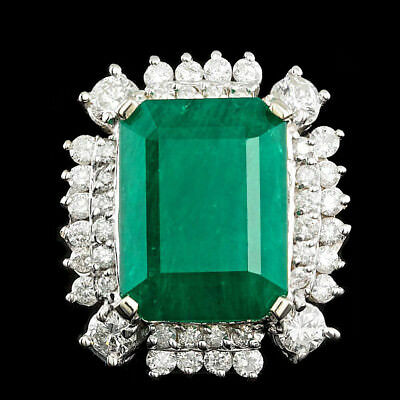 Certified  12.10cttw Emerald 1.80cttw Diamond 14KT White Gold Ring