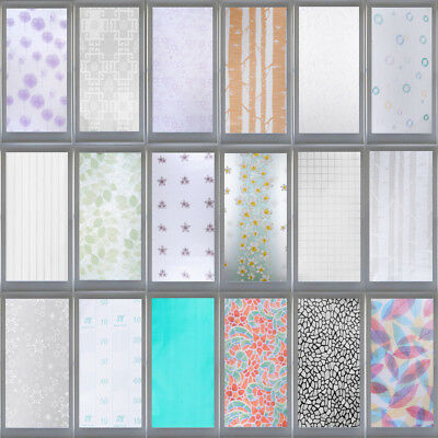 Static Cling Frosted Floral Stained Glass Window Door Sticker Film Privacy Decor
