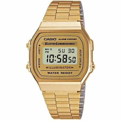 055728eb15c8 Casio A168WG-9 Retro Gold Stainless Steel Illuminator Unisex Watch A-168  A168