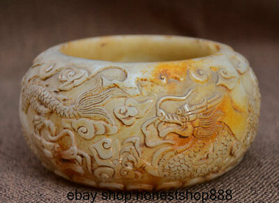 """6""""Chinese Old Ancient White Jade Carved Dynasty Beast Dragon Round Pot Jar Crock"""
