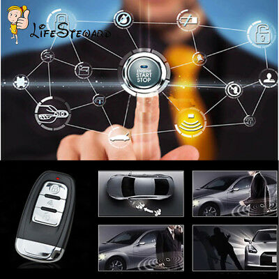 Universal Audible Alarm System Security Ignition Engine Start Push Button Remote