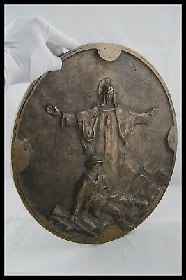 Ww1 Sacred Heart Of Jesus Saves France Soldier 14-18 Large Heavy Bronze Signed