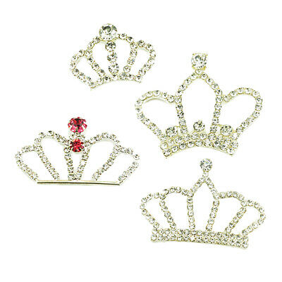 4pcs Crown Shape Crystal Embellishment Findings for DIY Barrette Hair Bow