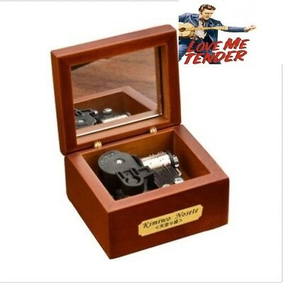 18 Note Wind-up Wooden Music Box with Mirror ♫ Love Me Tender - Elvis
